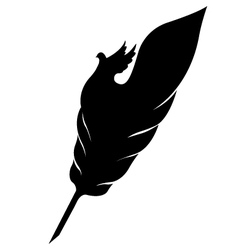 Feather with dove silhouette vector