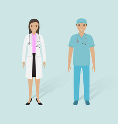 Female doctor and male nurse with shadows vector