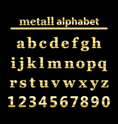 Gold metall alphabet and gold numbers vector