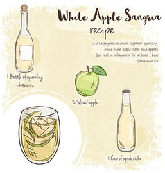 Hand drawn of white apple sangria recipe with list vector