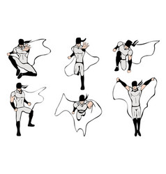 hand drawn superhero models in various poses vector image vector image