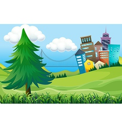 Hills with buildings vector image vector image