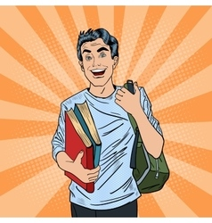 Male Pop Art Student with Backpack and Books vector image