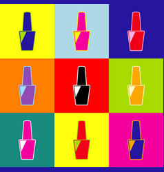 nail polish sign pop-art style colorful vector image