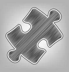 Puzzle piece sign pencil sketch imitation vector