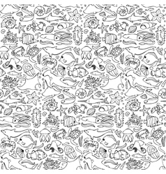 Sea seamless doodle pattern vector image