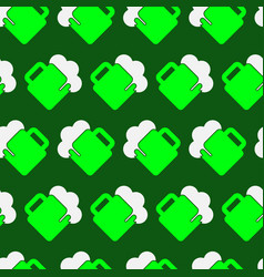 Seamless pattern - green white beer with froth vector