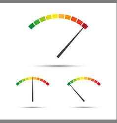 set of simple tachometers with indicators in red vector image