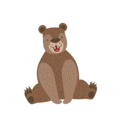 Sitting Brown Bear Smiling vector image vector image