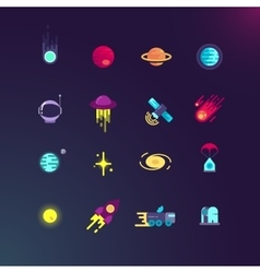 Space and flat icons set vector image