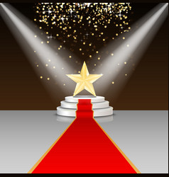 Stage podium with red carpet and star vector