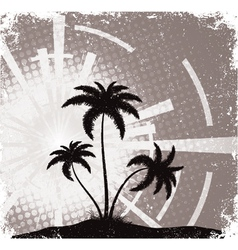 summer grunge background with palm trees vector image