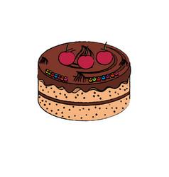 Sweet cake delicious icon vector