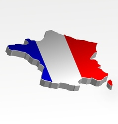 Three dimensional map of France in flag colors vector image