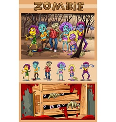 Zombies walking in the forest vector image vector image