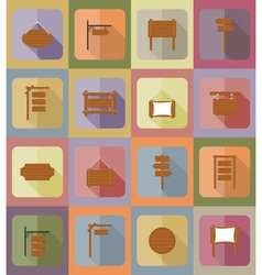 Wooden board flat icons 20 vector