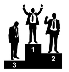 Businessman silhouettes on podium vector