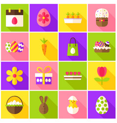 Easter spring colorful icons vector