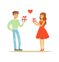 Young enamored woman and man standing and holding vector