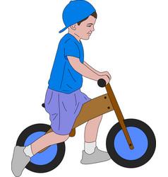 Kid riding push bike vector