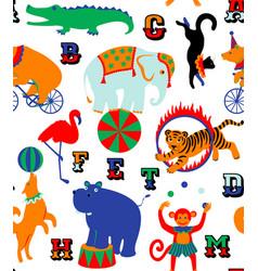 Circus cartoon animals vector