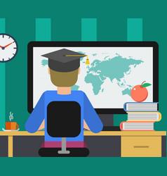 Man getting education online vector