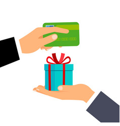 hands with credit card and gift vector image