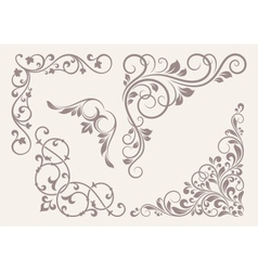 Set of corner ornaments vector
