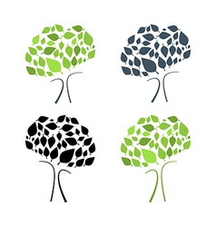 Abstract Tree Set Isolated on White Backgrou vector image