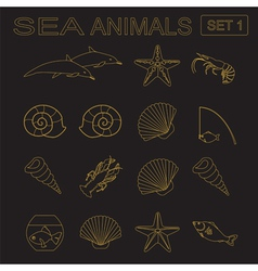 Sea animals icon vector
