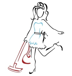 Woman vacuuming at house vector image