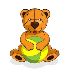 Plush bear with ball vector