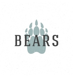 Bear trail hand drawn logo emblem template vector