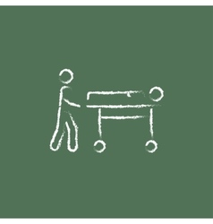 Man pushing stretchers icon drawn in chalk vector