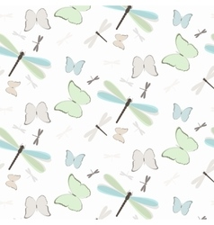 Seamless pattern with dragonflies and butterflies vector