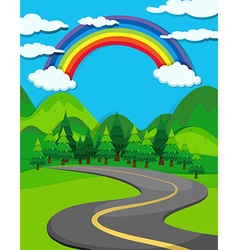Nature scene with road to the countryside vector