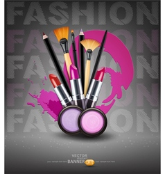 background with cosmetics and make-up objects Flye vector image