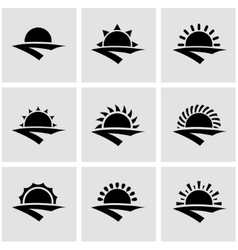 Black sunrise icon set vector
