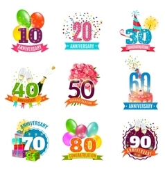 Anniversary birthdays emblems icons set vector