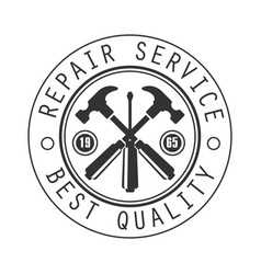 best quality repair and renovation service black vector image