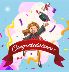 Card template for congratulations with woman in vector