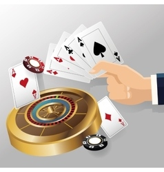 cards of poker roulette and chips design vector image vector image