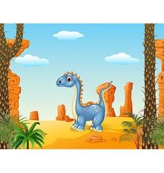 Cartoon cute dinosaur with prehistoric background vector