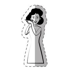 Cartoon woman expression gesture vector