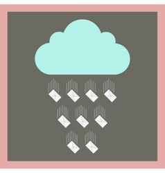cloud from which fall envelopes vector image