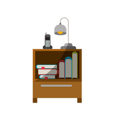 Colorful graphic of nightstand with cordless phone vector