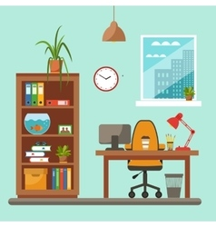 colorful office desk closeup concept vector image vector image
