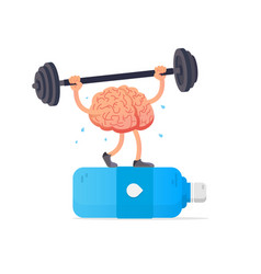 Creative concept brain lifts weights vector