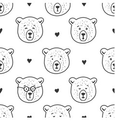 Cute bear seamless pattern hand drawn vector