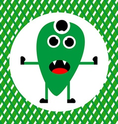 Cute green monster with three eyes vector